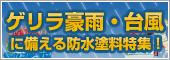 ゲリラ豪雨・台風に備える防水塗料特集