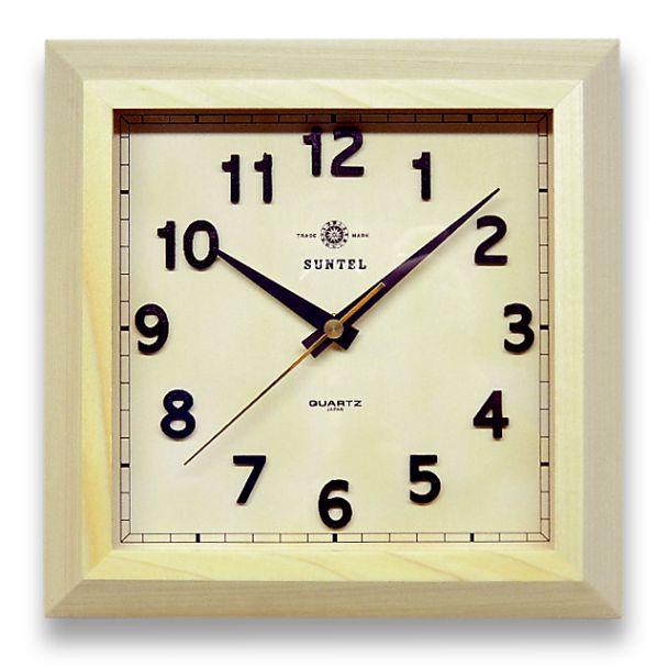 日本製 さんてる 天然木 角型 レトロ掛け時計 「スクエア」QL696