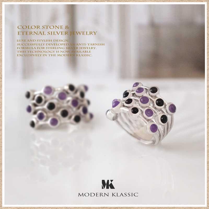 アメシストとオニキスのリング(指輪)