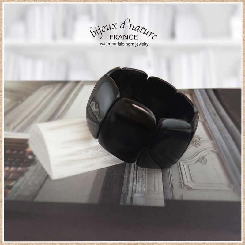 水牛の角のブレスレット エラスティック(黒)