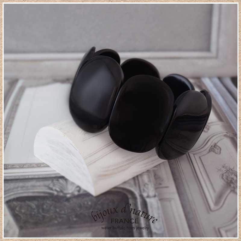 水牛の角 エラスティックブレスレット(ブラック)