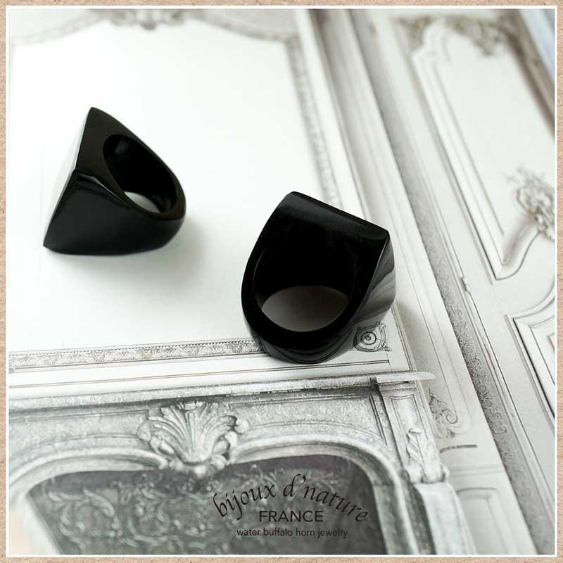 水牛の角の指輪 黒