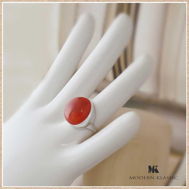 変色しないエターナルシルバーとカーネリアンのリング(指輪)