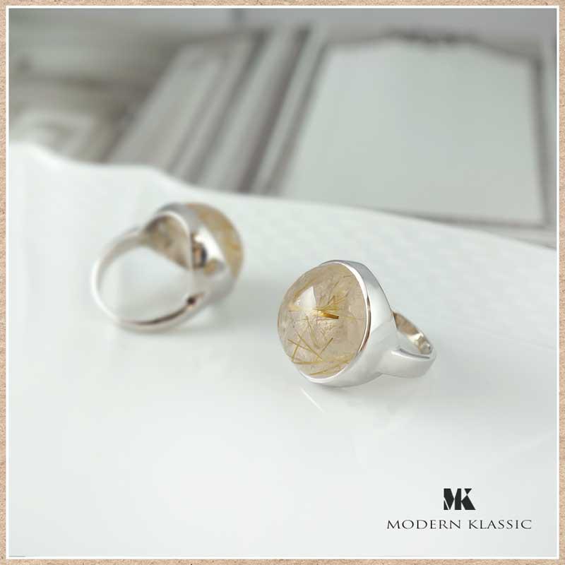 変色しないエターナルシルバーとルチルクォーツのリング(指輪)