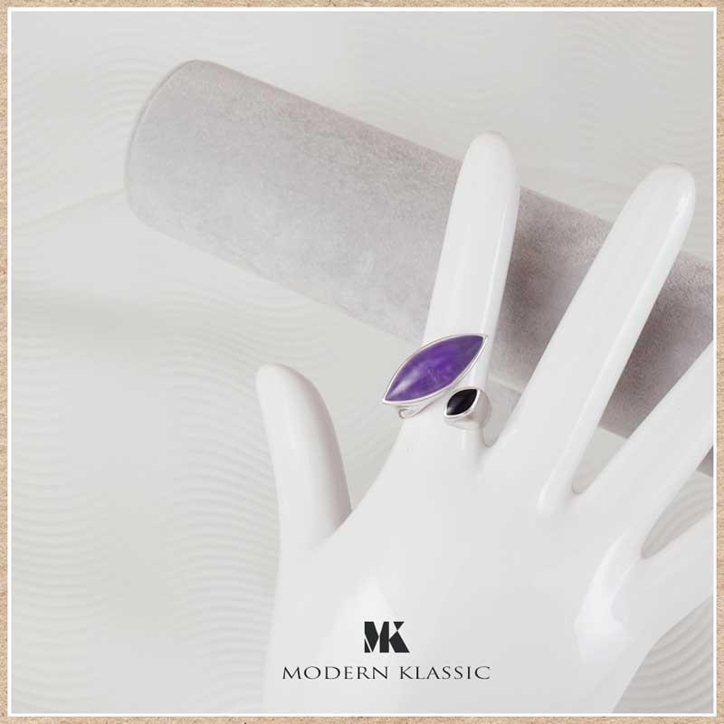 オニキスとアメジストのリング(指輪)