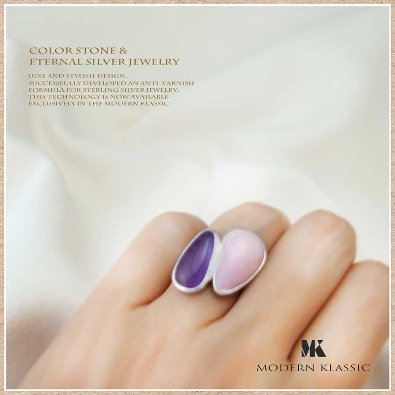 カラーストーン指輪|ピンクオパールとアメシスト